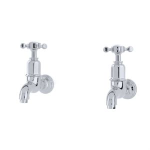 4328 Perrin & Rowe Mayan Wall Mounted Taps with Crosshead Handles
